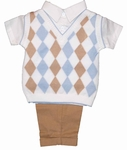 Boys Argyle Vest  and Pant Set