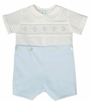 Boys Christening Outfit Blue Smocked Shortalls