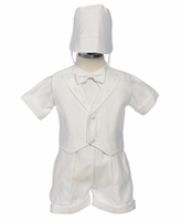 Boys Christening Outfit Satin Fancy Shorts Set 3T