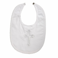 Boys Christening Bib Cotton Embroidered Cross