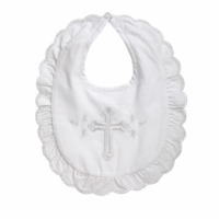 Girls Christening Bib Cotton Embroidered Cross