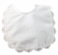 Christening Bib Cotton White Embossed Cross
