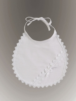 Girls Christening Bib in Cotton and Lace