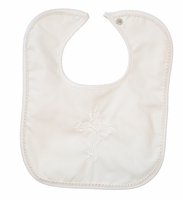 Boys Christening Bib Ivory Cotton Embroidered Cross