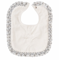 Girls Christening Bib Ivory Cotton Embroidered Cross