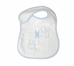 Christening Bib Large Terry with Blue Trim