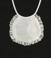 Girls Christening Bib Silk and Lace Simple