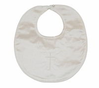Christening Bib Fine Silk Simple Embroidered Cross