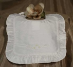 Christening Bib Silk Embroidered & Ruffled