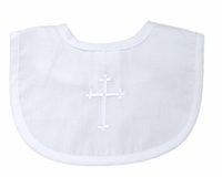 Christening Bib Baby Small Simple Embroidered Cross