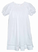 Girls Christening Dress Bishop Style Baptism Day Gown Pink Details