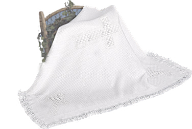 Christening Blanket Lightweight Cross Knit