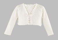Girls Christening Sweater Bolero Fine Knit Baptism Cardigan Ivory