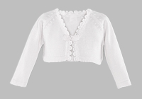 Girls Christening Sweater Bolero Toddler Fine Knit Baptism Cardigan White