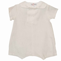 Boys Christening Outfit Light Ivory Linen Shortall Baptism Romper
