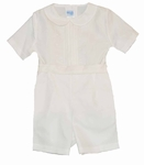 Boys Christening Outfit Ivory Silk Organza  Short Set  12 months or 3T