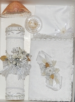 Christening CandleGift Set Flowers & Silver Beads