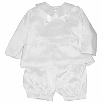 Boys Christening Outfits Fine French Taffeta White Baptism Eton Suit 3-6 month