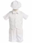 Toddler Boy's Christening Diamond Vest Set with Hat 24m/2T