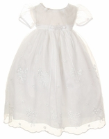 Christening Dress Day Gown Organza White Scallops 12/18 months