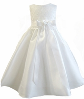 Christening Dress Fancy Ivory or White Shatung & Lace