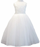 Christening Dress Fancy Ivory or White Tulle