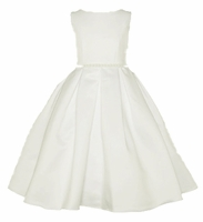 Christening Dress Fancy Ivory Satin Pleats