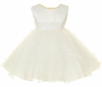 Christening Dress Fancy Ivory Satin & Tulle Princess Dress