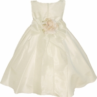 Christening Dress Fancy Ivory Shantung & Sash Set