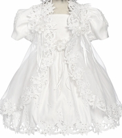 Girls Christening Dress Fancy Organza Overlay 12/18m