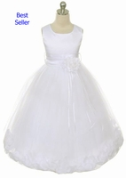 Toddler Girls Baptism Dress Satin and Rose Petals