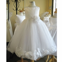 Christening Dress Fancy White Satin & Petals