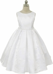 Toddler Girls Baptism Dress Satin Box Pleats