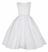 Christening Dress Fancy White Satin Pleats