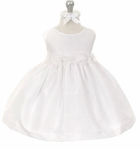 Girls Christening Dress Shantung & Rossettes