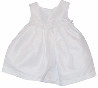Christening Dress Fancy White Satin Shantung & Rossettes