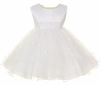A Christening Dress Fancy White Satin & Tulle Princess Dress