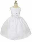Toddler Girls Baptism Dress Shantung & Organza Sash