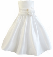 Christening Dress Fancy White Shantung & Sash Set