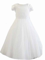 Christening Dress Fancy White Tulle & Beads