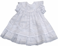 Grils Christening Dress Fancy Heirloom Lace Layers Baptism Set 24 months