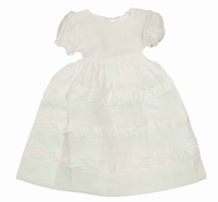 Girls Christening Dress Light Ivory Linen Simple Baptism Ruffles