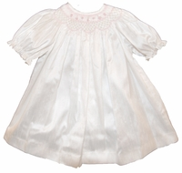 Girls Christening Dress Silk Ivory Baby Smocked Bishop