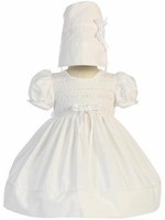 Christening Dress White 100% Cotton Smocked