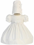 Christening Dress White 100% Cotton Smocked 3-6 months