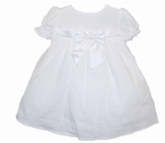 Girls Christening Dress White Bishop Cotton Seersucker