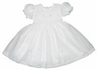 Girls Christening Dress 100% Cotton Smocked Classic