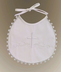 Girls Christening Bib Embroidered Cross Cotton Lace Trim
