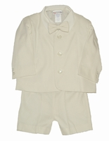 Boys Christening Eton Suit Ivory Gabardine Set