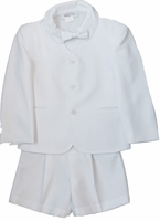 Boys Christening Eton Suit White Gabardine Set